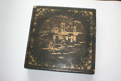 Antique Chinese Wooden Lacquer Gilt Hand Painted Large Storage Box