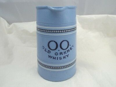 Vintage OO Old Orkney Whisky  Blue Stoneware Pitcher Burton Bros Liverpool