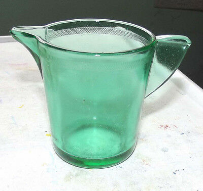 """Akro Agate green transparent stippled band pitcher 2 3/4"""""""