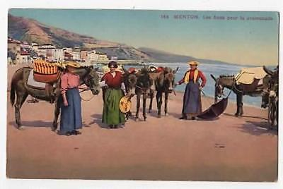 VINTAGE POSTCARD,MENTON,FRENCH RIVEIERA,DONKEY RODES ON THE BEACH,c1930