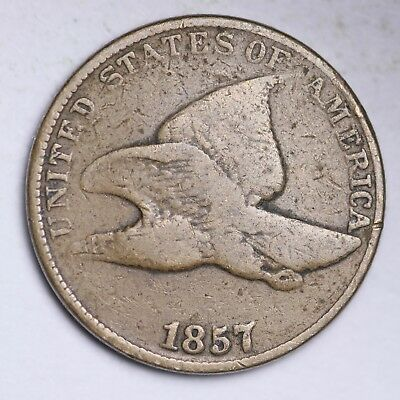 1857 REPUNCHED DATE Flying Eagle Small Cent CHOICE VG FREE SHIPPING E108 RNB