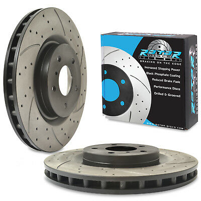 FRONT DRILLED GROOVED 323mm BRAKE DISCS FOR NISSAN FAIRLADY 350Z Z33 3.5 03-06