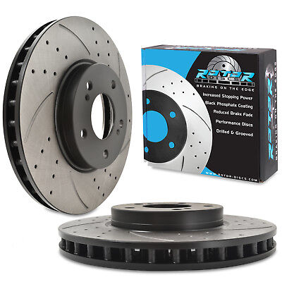 FRONT DRILLED GROOVED 295mm BRAKE DISCS FOR NISSAN SKYLINE R33 2.5 GTST 93-98