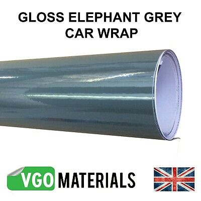 Gloss Vinyl Car Motorbike Vehicle Wrap Air/Bubble Free Elephant Grey Many Sizes