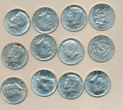 Kennedy Silver Halves - 1964-P & D - Lot Of 12 Unc To Bu