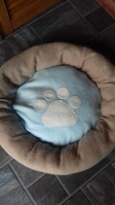 Fleecy Cats Bed Beige Outside Blue And White Cat Paw Print Inside