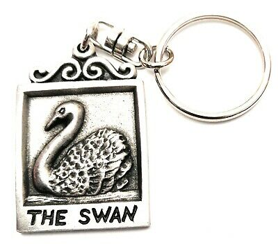 The Swan old Pub Sign KeyRing Hand Crafted Pewter Key Ring in pouch Gift Idea