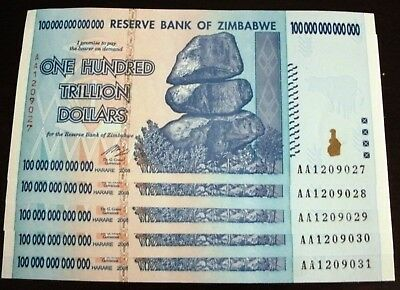 100 Trillion Zimbabwe Dollars Bank Note AA 2008  GEM  UNC Authentic INVESTOR LOT