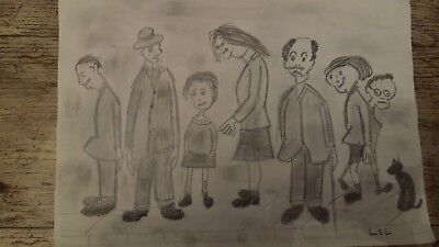 L S Lowry Pencil Drawing  Of  A  Group Of People  12 X8  Ins   After  Lowry