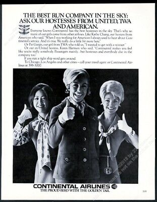 1971 Continental Airlines 3 stewardess photo vintage print ad