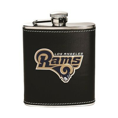 Los Angeles Rams NFL Team Flask stainless steel leather wrap 6 oz.