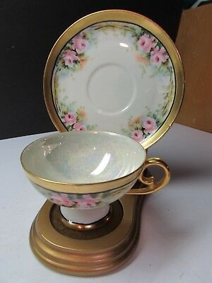 Lovely Vintage Hand Painted Roses And Gold Cup And Saucer
