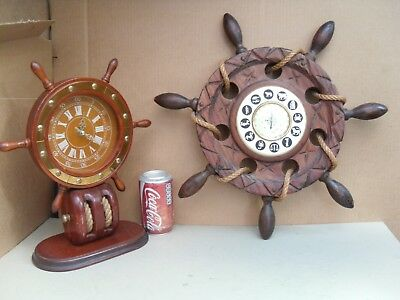 Decorative Wood Ships Wheel Pulley Block Clock & Ship Steering Wheel Barometer