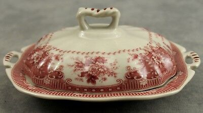Red & Cream Transferware Victorian Floral Toile Butter Pat Dish