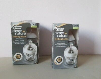 2 x Tommee Tippee Closer to Nature Feeding Bottle 0 months+