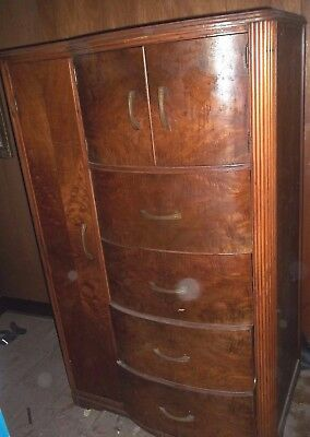 ANTIQUE wood cedar Art Deco wooden Armoire WARDROBE pick up only Maryland