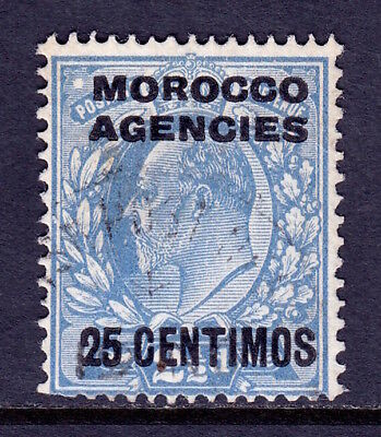 MOROCCO AGENCIES — SCOTT 48 (SG 124a) — 1907 KEVII 25c ON 2½d — USED —SCV $30.00