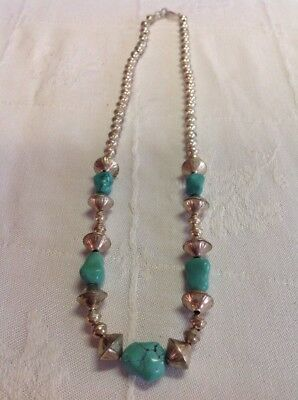 VINTAGE INDIAN NATIVE AMERICAN JEWELRY Necklace Large Sterling Silver Turquoise