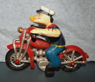 POPEYE on HARLEY DAVIDSON Cast Iron HOG Movable arms Cycle Motorcycle TOY