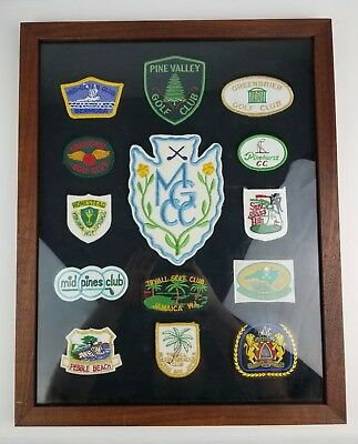 Lot 14 Framed Embroidered Golf Course patches Pine Hurst Greenbrier Spy Glass