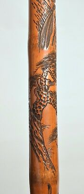 Good Quality Antique Japanese Carved Bamboo Walking Stick Signed