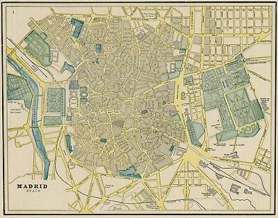 Madrid, Spain Street Map / Plan: Authentic 1887 with Stations & Landmarks