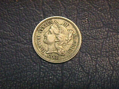 1888 Three Cent [N] In Very Fine Condition. Free Shipping.