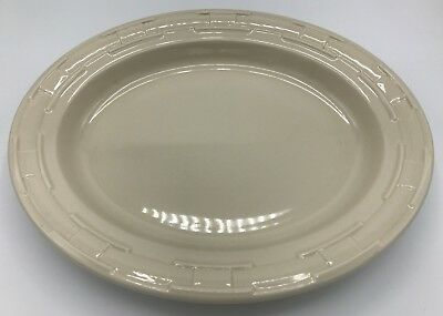 Longaberger Pottery Woven Traditions Ivory Oval Platter 12 Inches