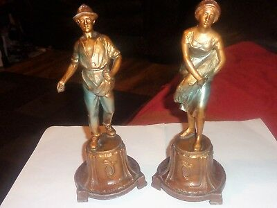 Pair Of Cold Painted Spelter Figures