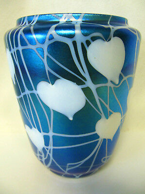 "Durand Art Glass Hearts and Vines Wide Mouth Vase Signed Iridescent Blue 6"" Tall"