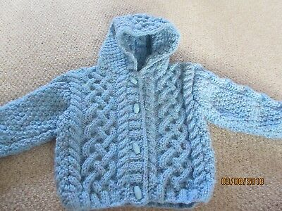 Brand New Hand Knitted Child's Aran Cardigan With Hood - Age 1-2 Years