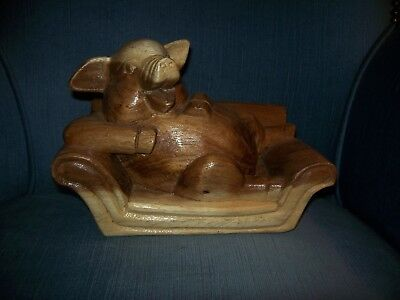 Hand Carved - Laughing Wooden Pig, Hog, Swine Relaxing On A Couch