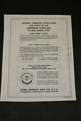 Sears Craftsman Model No.113.29401 Accra-arm Radial Arm Saw Manual Woodworking
