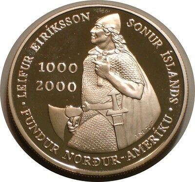 2000 Silver 1000 kronor of Iceland superb Gem Proof LEIF ERICSON