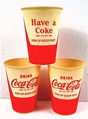 3 Drink Coca Cola Have A Coke 8 oz Sign Of Good Taste Waxed Soda Cups Old Stock