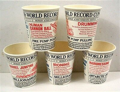 5 Different Guiness World Record Achievements Waxed 7 oz Soda Cups Old Stock