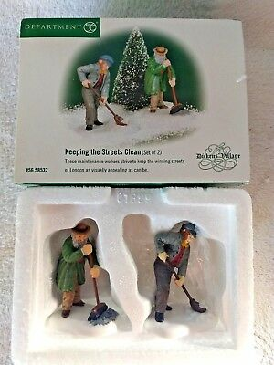 "Department 56 Heritage Village ""keeping The Streets Clean"" Set 2 In Box 56.58532"