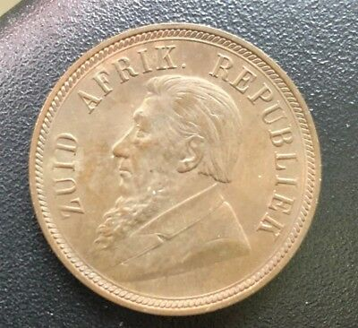 1898 South Africa Penny KM# 2  AU UNC Red Brown