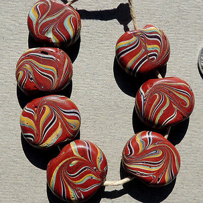 7 old antique venetian tabular fancy feather beads african trade #1720