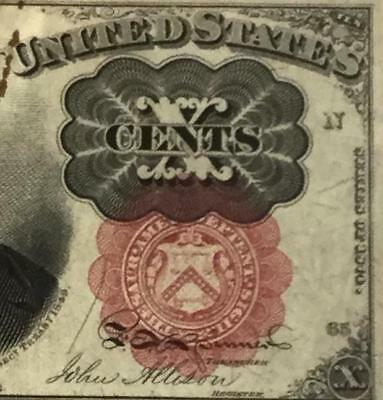"""1874 US Fractional Currency Choice VF Crispness """"TEN CENTS""""! Currency"""