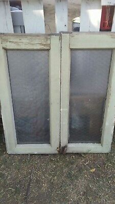 Antique Industrial Chicken Wire Privacy Glass Window Sets