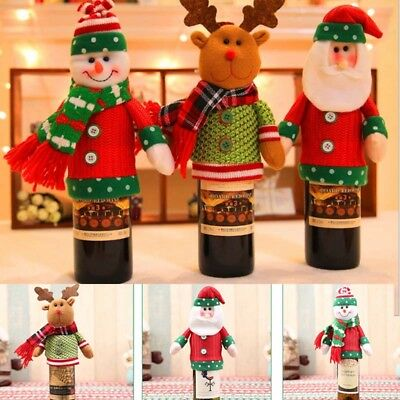 Christmas Santa Claus Elk Wine Bottle Cover Gifts Fashion Party Lovely Home