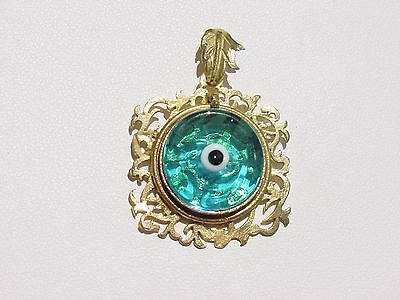 Gold Plated Roman Ancient Vintage Greek Murano Glass  Evil Eye Pendant Necklace