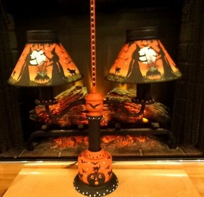Ooak Antique Halloween Witches Black Cats Double Metal Shades Student Table Lamp