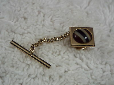 Goldtone Brown Striped Stone Tie Tac (A19)