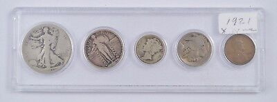 1921 US Coins Collection - 5 Coins - Lincoln Cent to Walking Liberty Half *5305