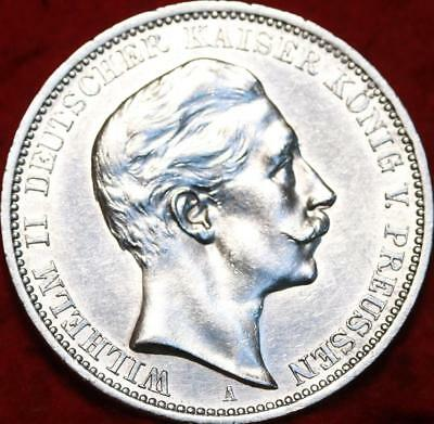 Uncirculated 1909 Germany 3 Mark Silver Foreign Coin