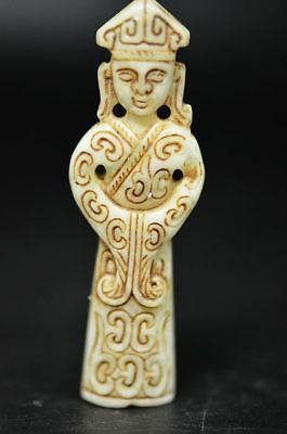 Excellent old jade carved Ancient people Court officials Statue/Pendant Y34