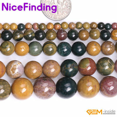 "Natural Stone Mixed Color Rainbow Ocean Jasper Loose Beads Jewelry Making 15"" NF"