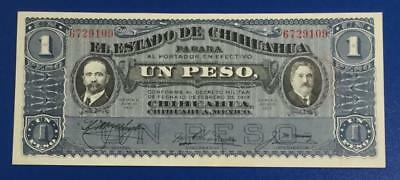 """1914 $1 Choice Uncirculated Mexico LARGE SIZE UN PESO """"HORSEBLANKET"""" Currency"""